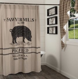 VHC Brands Sawyer Mill Charcoal Pig Shower Curtain
