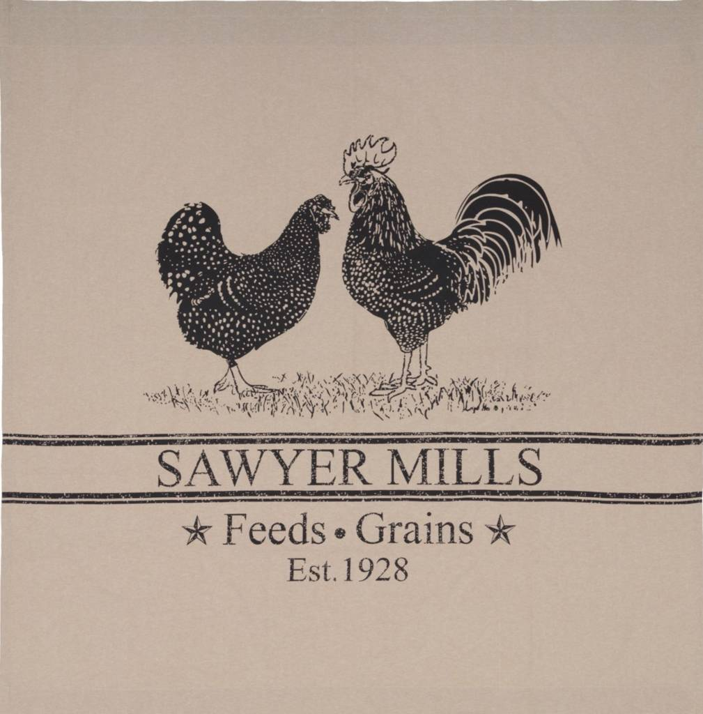 VHC Brands Sawyer Mill Charcoal Poultry Shower Curtain 72x72