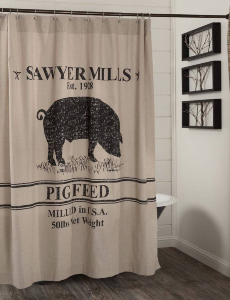 VHC Brands Sawyer Mill Charcoal Pig Shower Curtain 72x72