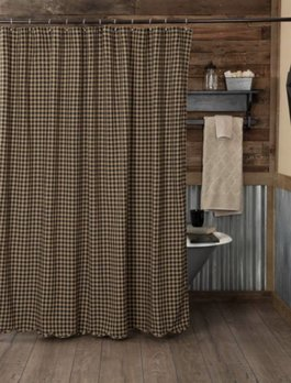 VHC Brands Black Check Scalloped Shower Curtain