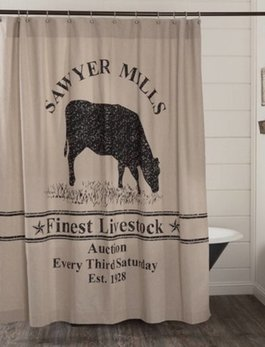 VHC Brands Sawyer Mill Charcoal Cow Shower Curtain