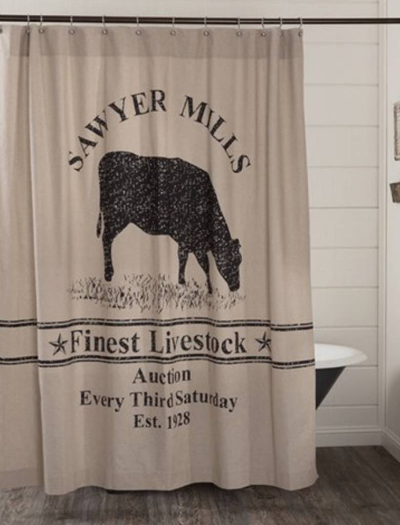 VHC Brands Sawyer Mill Charcoal Cow Shower Curtain 72x72