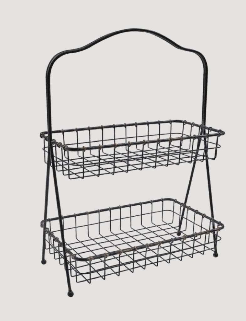 Park Designs Two Tier Metal Basket On Stand