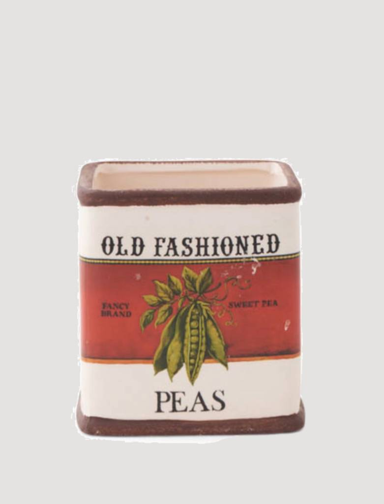 "K & K Interiors Old Fashioned Peas Ceramic Square Pot 4.25"""