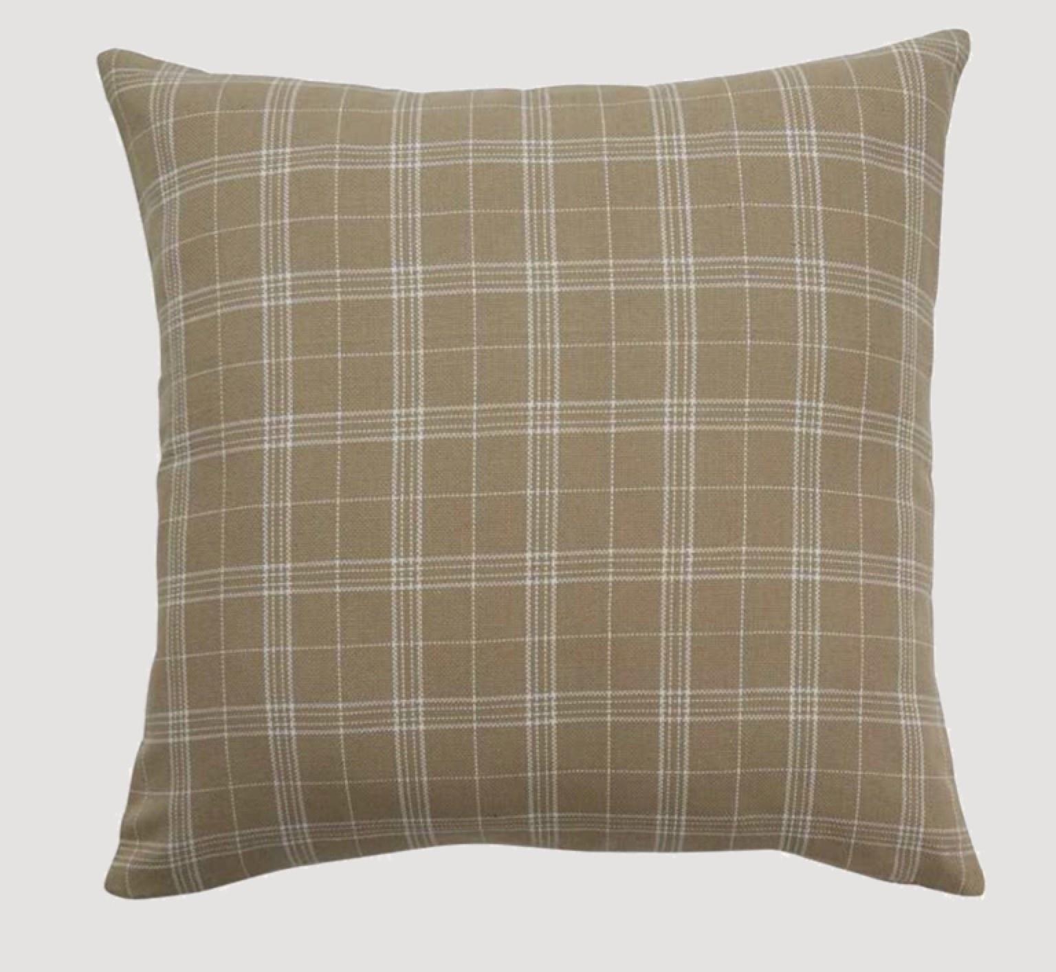 "Park Designs Fieldstone Cream Plaid Pillow 20"""
