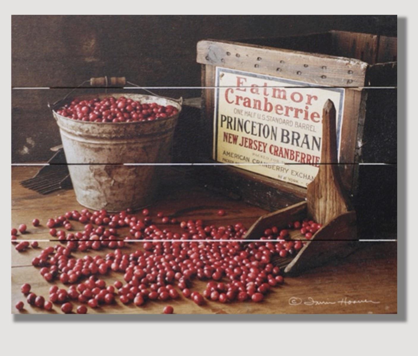 Nana's Farmhouse Cranberry Bucket Pallet Art