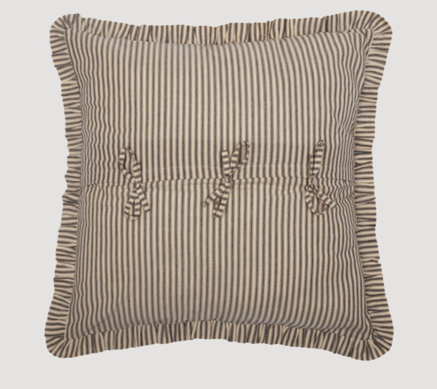 "VHC Brands Sawyer Mill Charcoal Ticking Stripe Fabric Euro Sham 26"" x 26"""