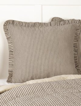 VHC Brands Sawyer Mill Charcoal Ticking Stripe Fabric Euro Sham