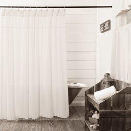 VHC Brands Burlap Antique White Shower Curtain