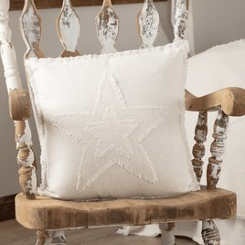 VHC Brands Burlap Antique White Star Pillow