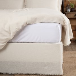 VHC Brands Burlap Antiqued White Fringed Bed Skirt