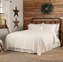 VHC Brands Burlap Antique White Star Bedding Collection