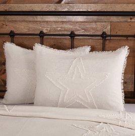 VHC Brands Burlap Antique White Star Sham