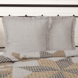 VHC Brands Dakota Star Farmhouse Blue Ticking Stripe Fabric Euro Sham