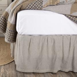 VHC Brands Dakota Star Farmhouse Blue Ticking Stripe Bed Skirt