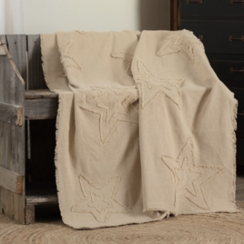 VHC Brands Burlap Vintage Star Throw