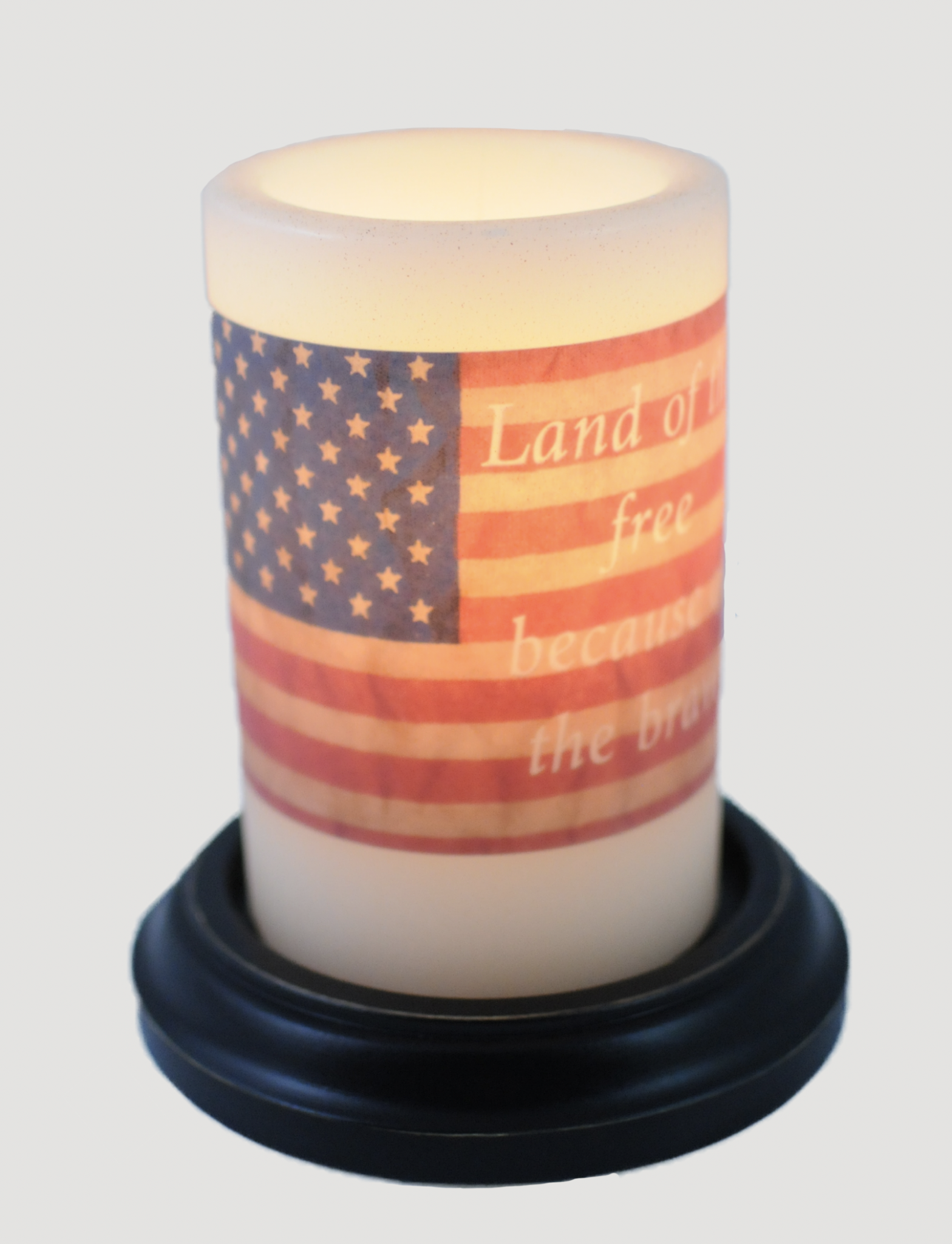 C R Designs Flag Land Of The Free Candle Sleeve