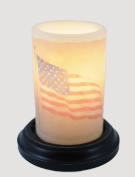 C R Designs Waving American Flag Candle Sleeve