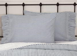 VHC Brands Sawyer Mill Blue Ticking Stripe Pillow Case Set