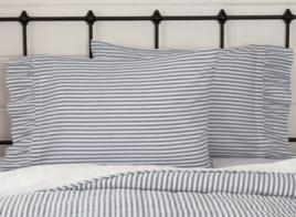 VHC Brands Sawyer Mill Blue Ticking Stripe Pillow Case Set