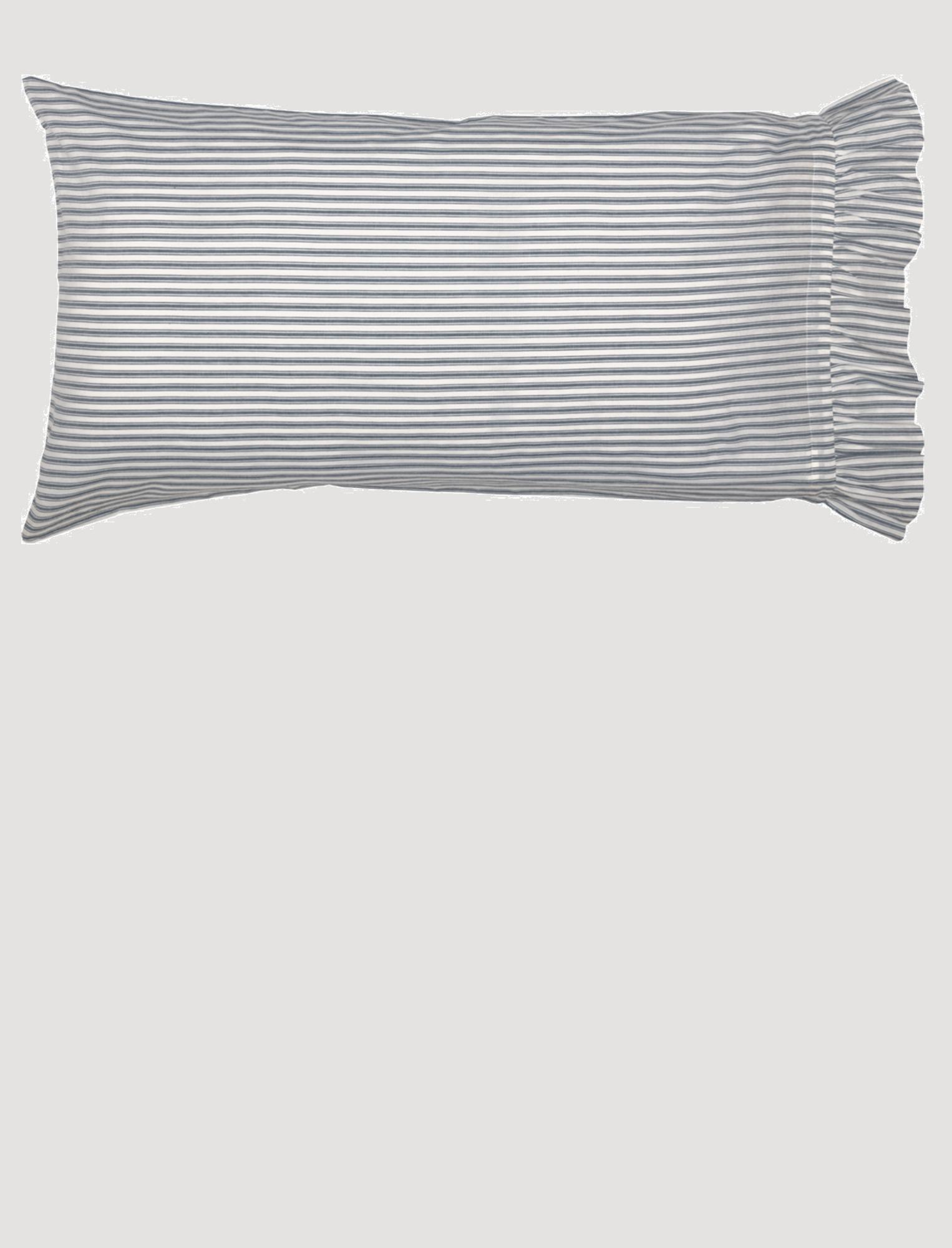 VHC Brands Sawyer Mill Blue Ticking Stripe Pillow Case Set of 2