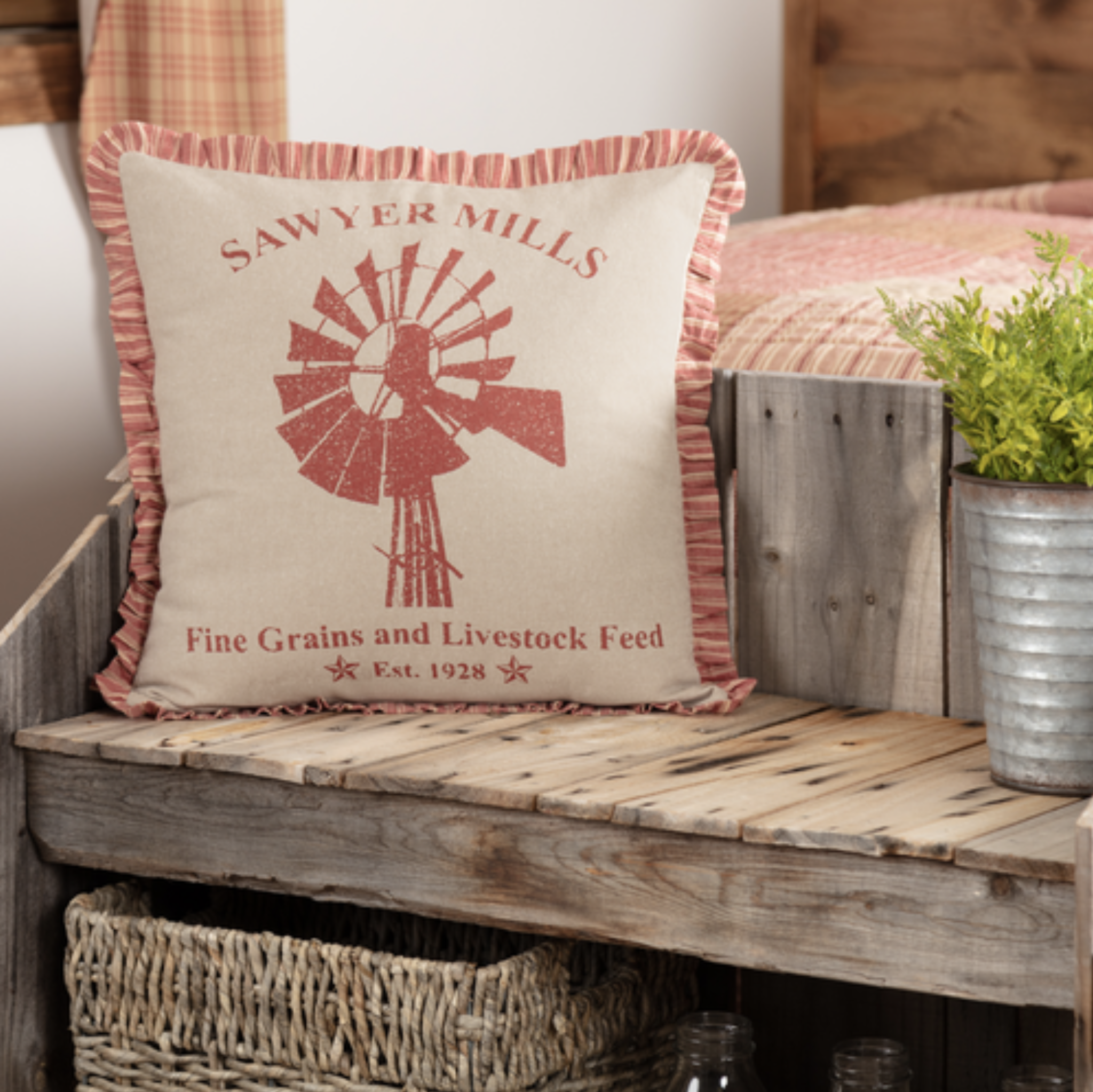 "VHC Brands Sawyer Mill Red Windmill Pillow 18 x 18"""