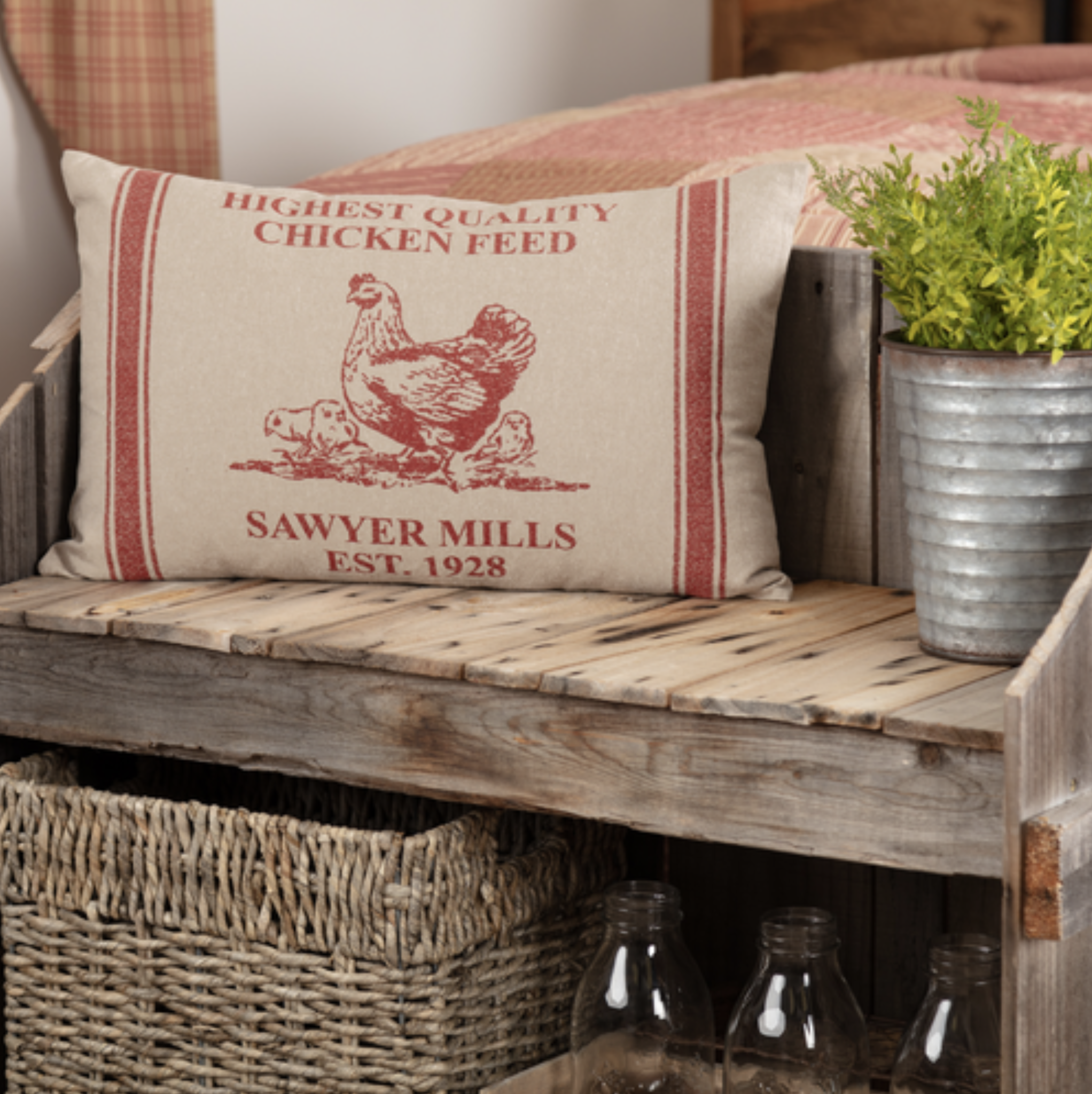 VHC Brands Sawyer Mill Red Hen and Chicks Pillow 14 x 22""