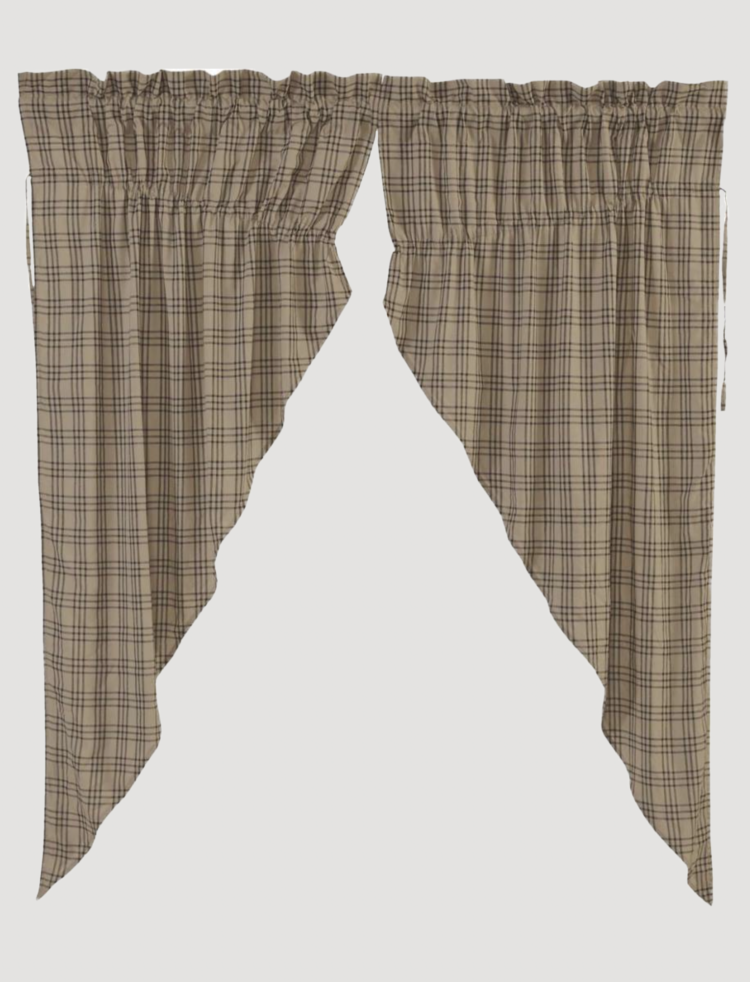 VHC Brands Sawyer Mill Charcoal Plaid Prairie Curtain Lined Set of 2