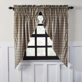 VHC Brands Sawyer Mill Charcoal Plaid Prairie Curtain Lined Set