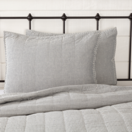 VHC Brands Hatteras Seersucker Blue Ticking Stripe Sham