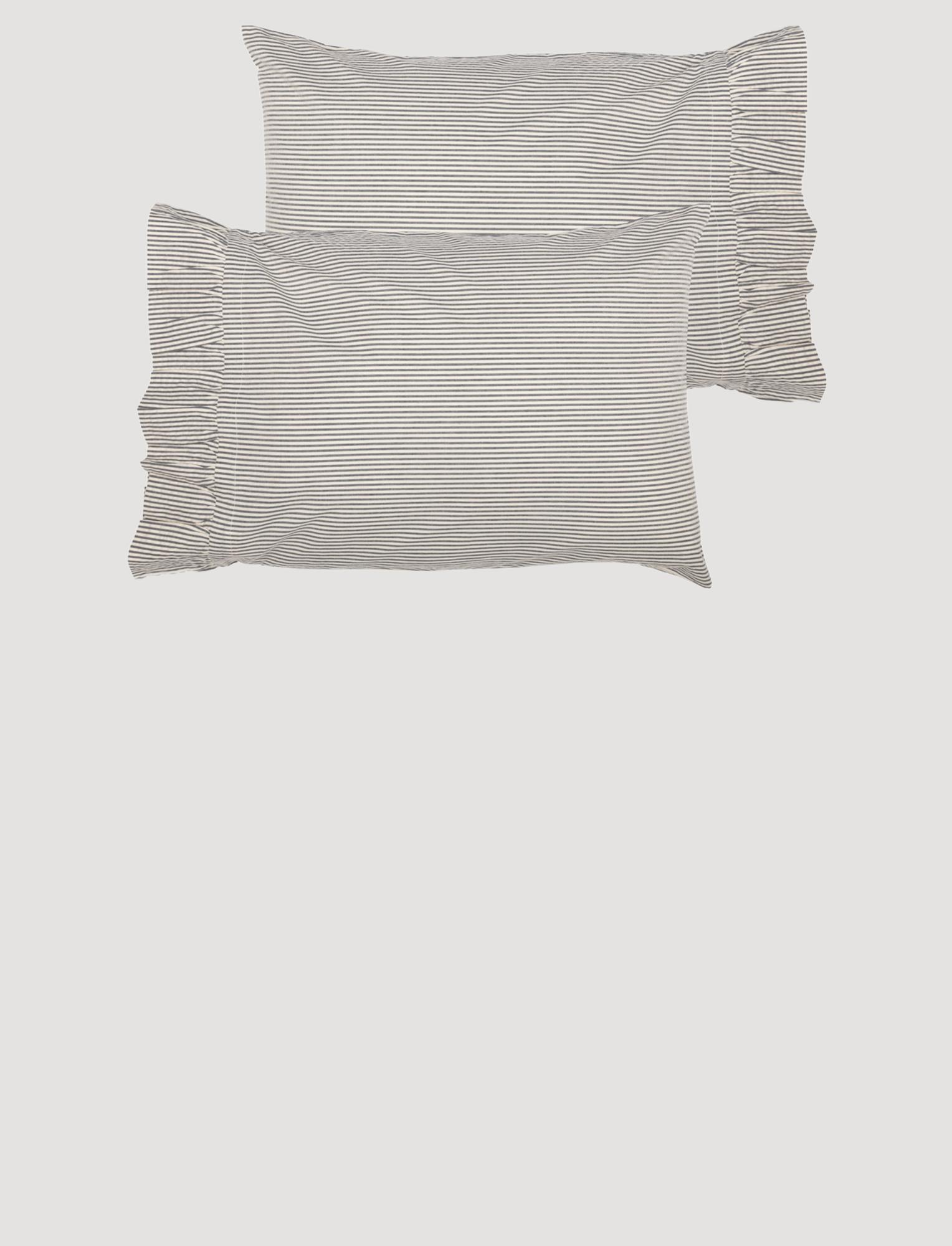 VHC Brands Hatteras Seersucker Blue Ticking Stripe Pillow Case Set of 2