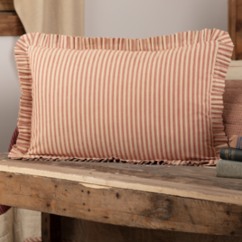 "VHC Brands Rory School House Red Ticking Stripe Fabric Pillow 14"" x 22"""