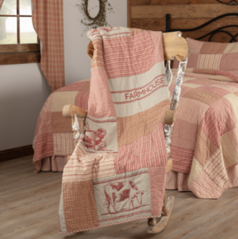 VHC Brands Sawyer Mill Red Farm Animal Quilted Throw
