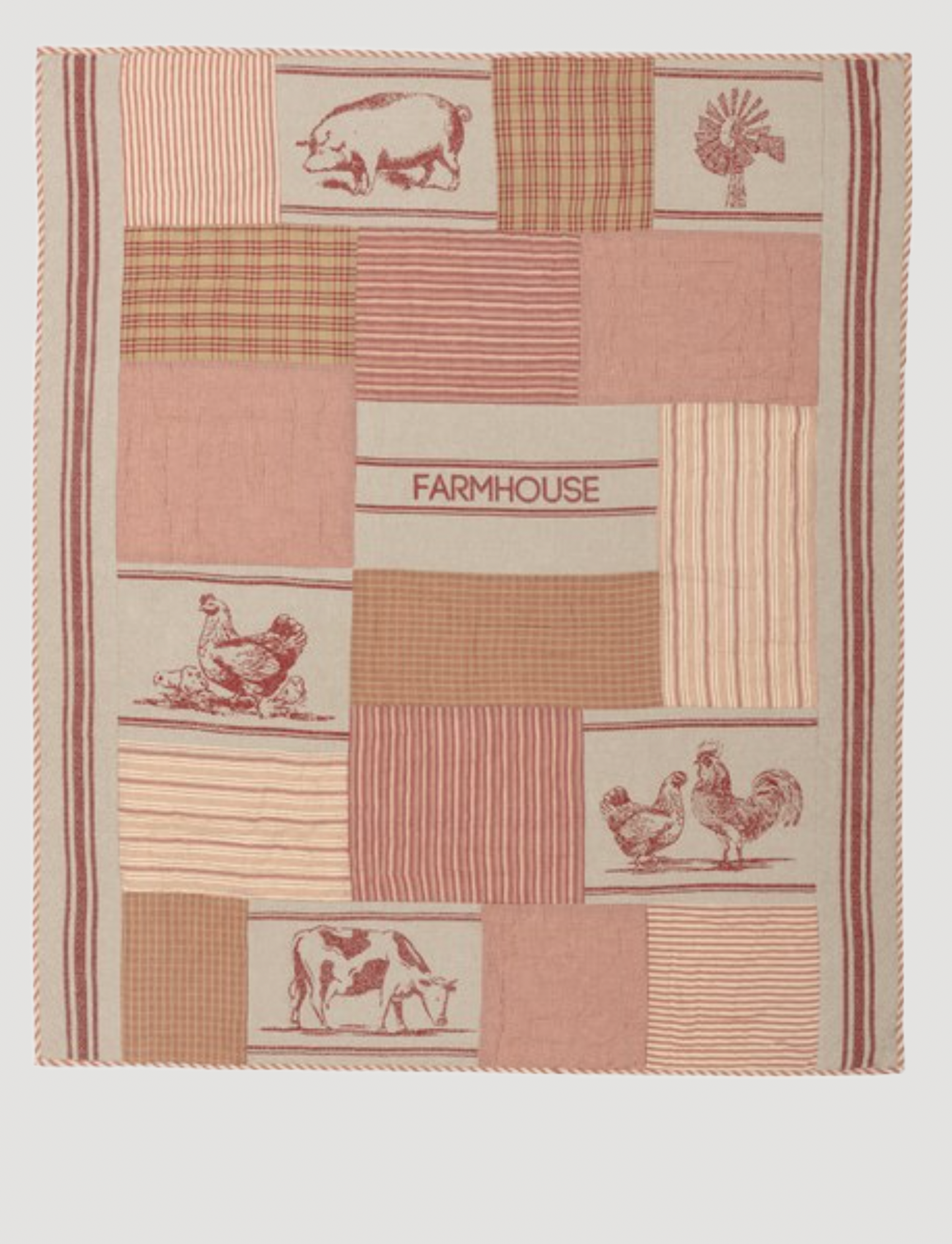 """VHC Brands Sawyer Mill Red Farm Animal Quilted Throw 60"""" x 50"""""""