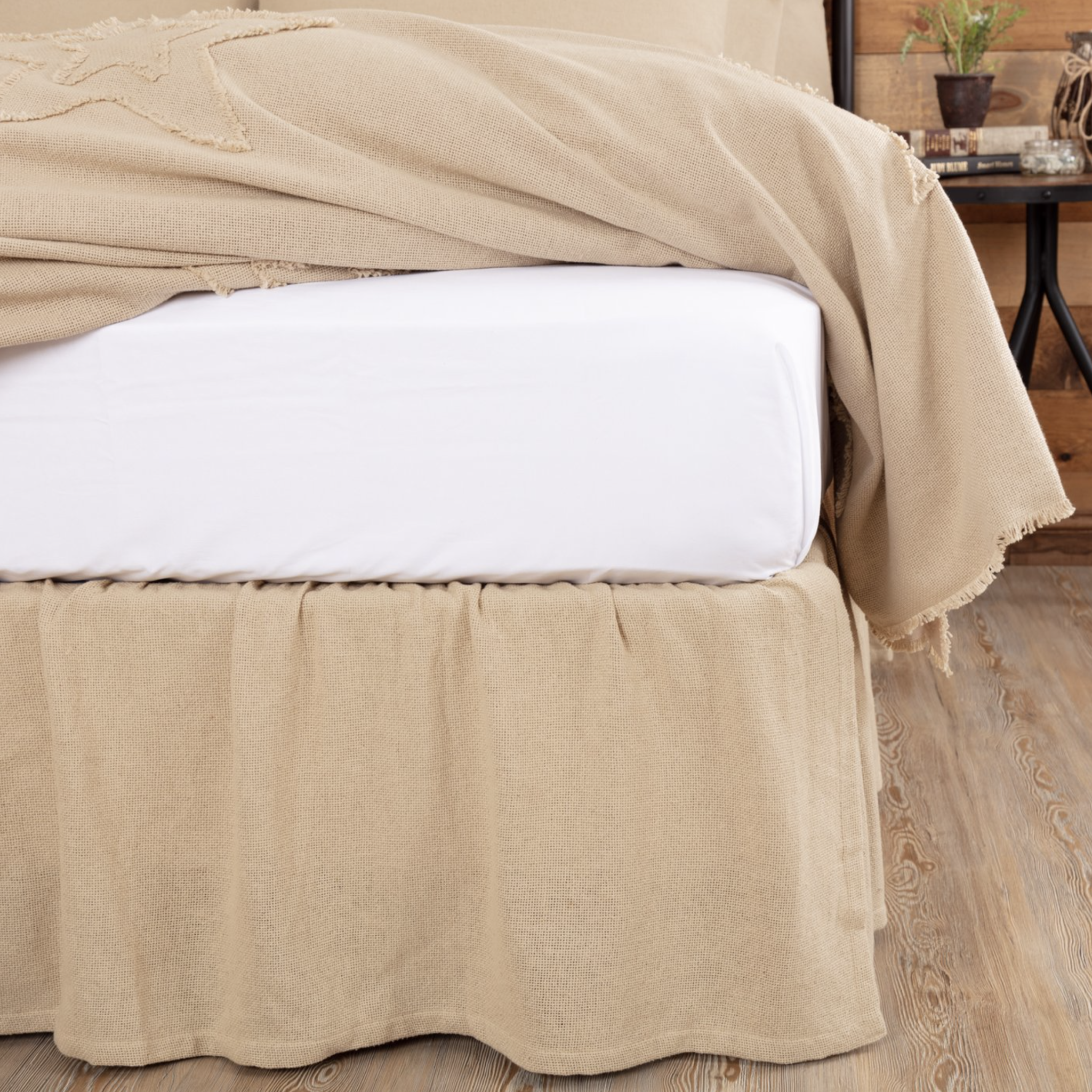 VHC Brands Burlap Vintage Ruffled Bed Skirt