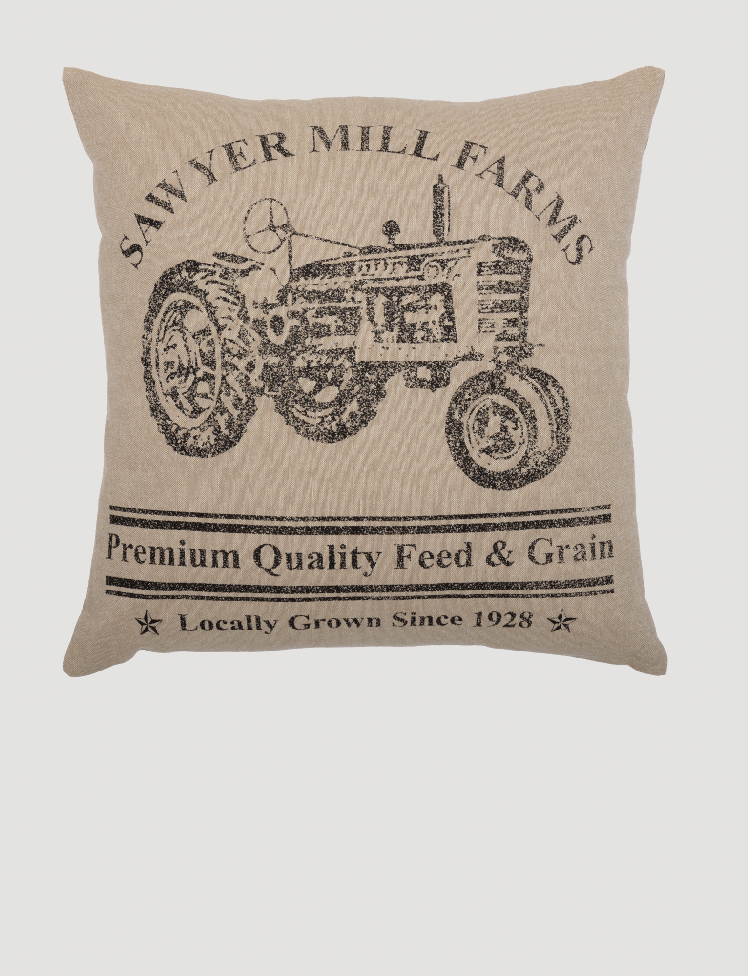 "VHC Brands Sawyer Mill Charcoal Tractor Pillow 18"" x 18"""