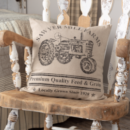 VHC Brands Sawyer Mill Charcoal Tractor Pillow