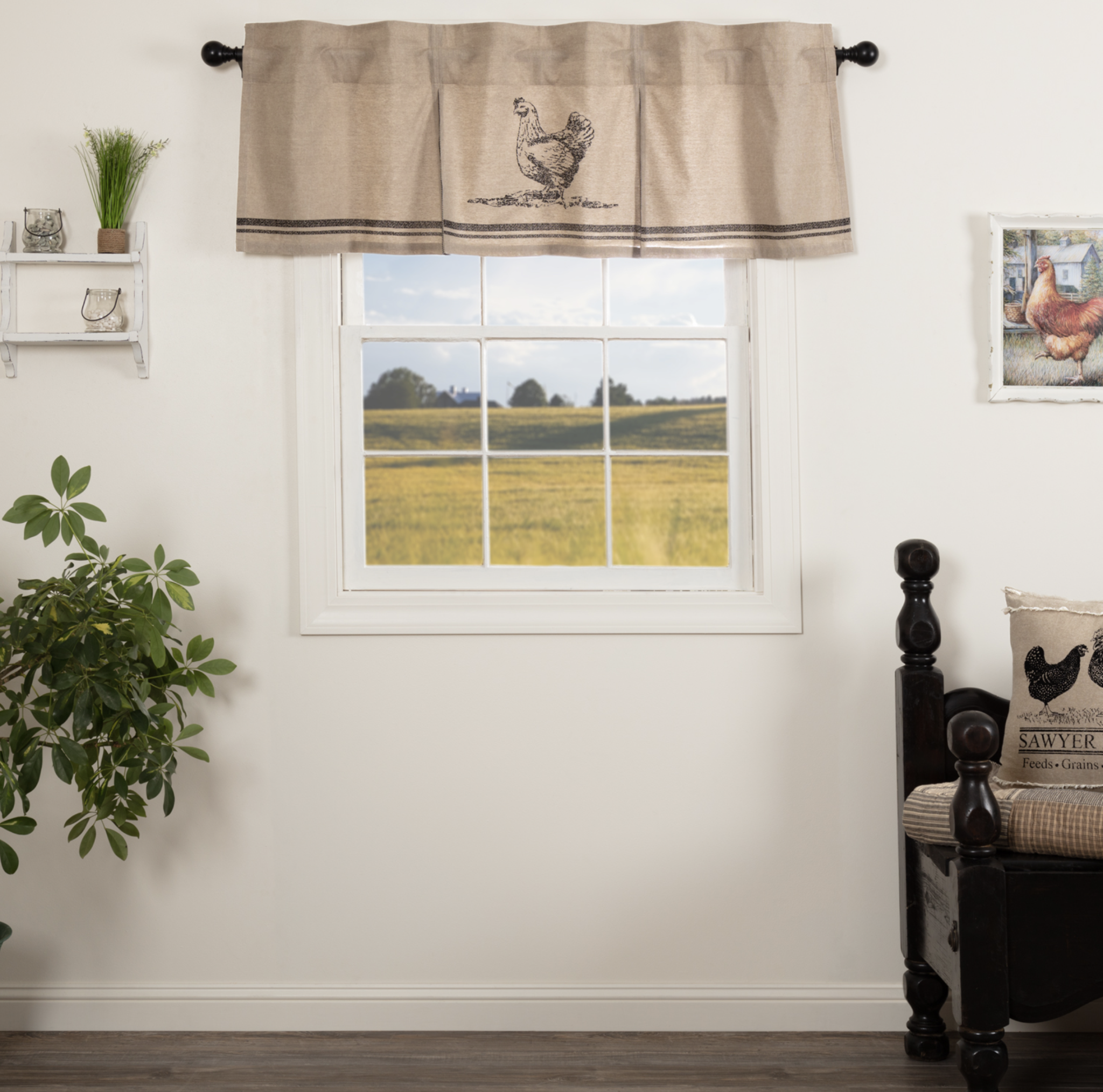 VHC Brands Sawyer Mill Charcoal Chicken Valance Pleated
