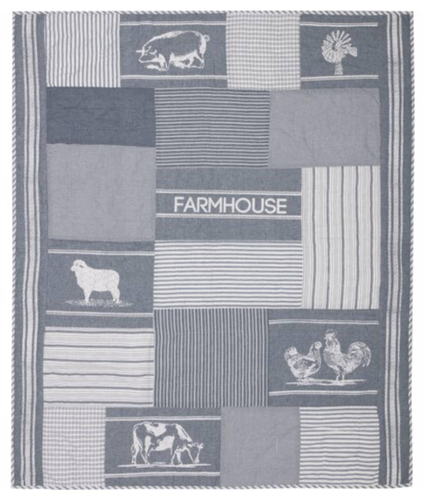 "VHC Brands Sawyer Mill Blue Farm Animal Quilted Throw 60"" x 50"""
