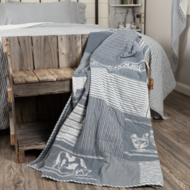 VHC Brands Sawyer Mill Blue Farm Animal Quilted Throw