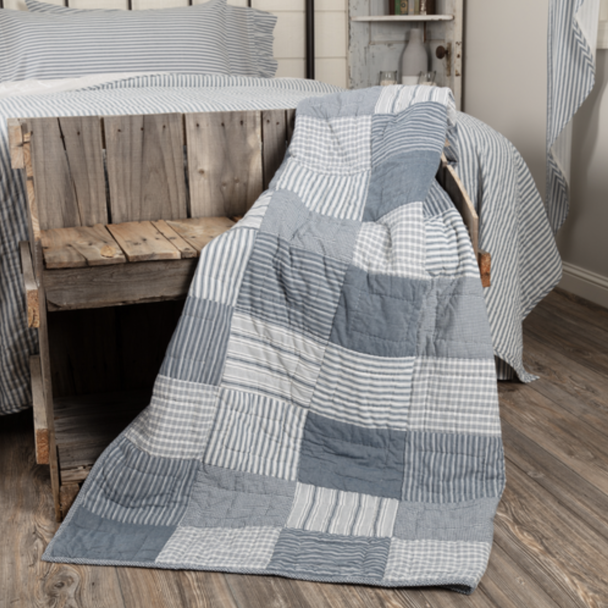 "VHC Brands Sawyer Mill Blue Block Quilted Throw 60"" x 50"""