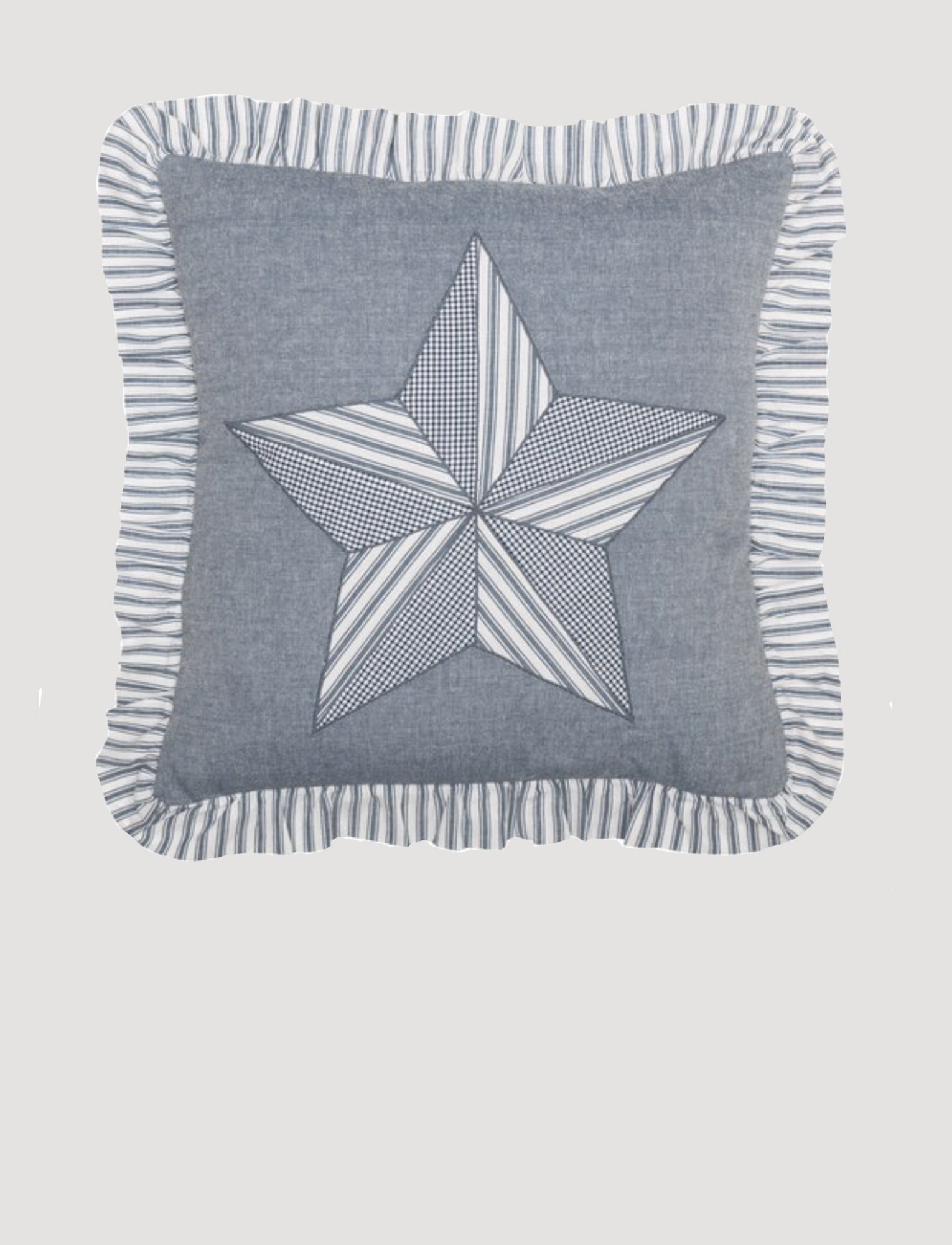 "VHC Brands Sawyer Mill Blue Barn Star Pillow 18"" x 18"""