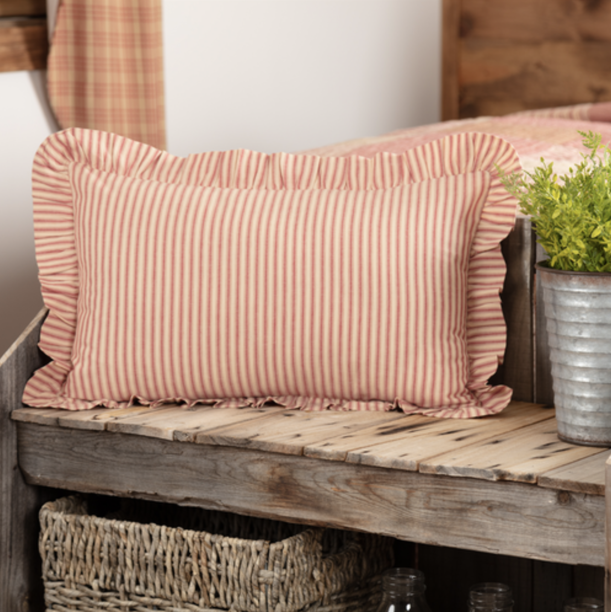 "VHC Brands Sawyer Mill Red Ticking Stripe Fabric Pillow 14"" x 22"""