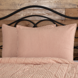 VHC Brands Sawyer Mill Red Ticking Stripe Sham