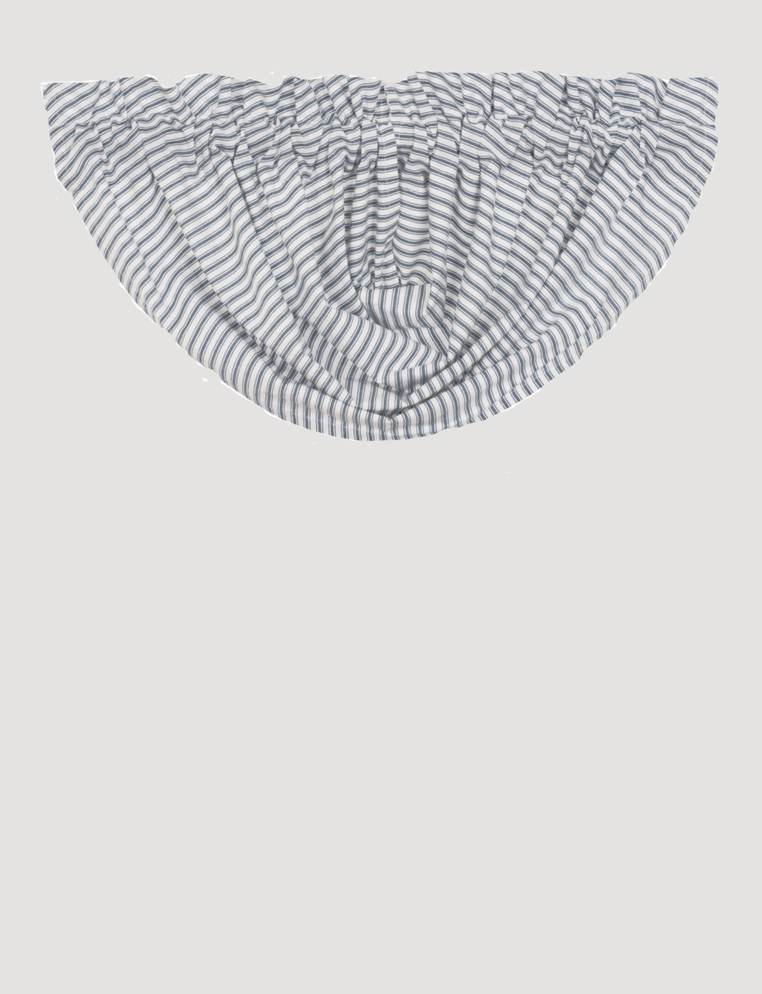 """VHC Brands Sawyer Mill Blue Ticking Stripe Balloon Valance 15"""" x 60"""""""