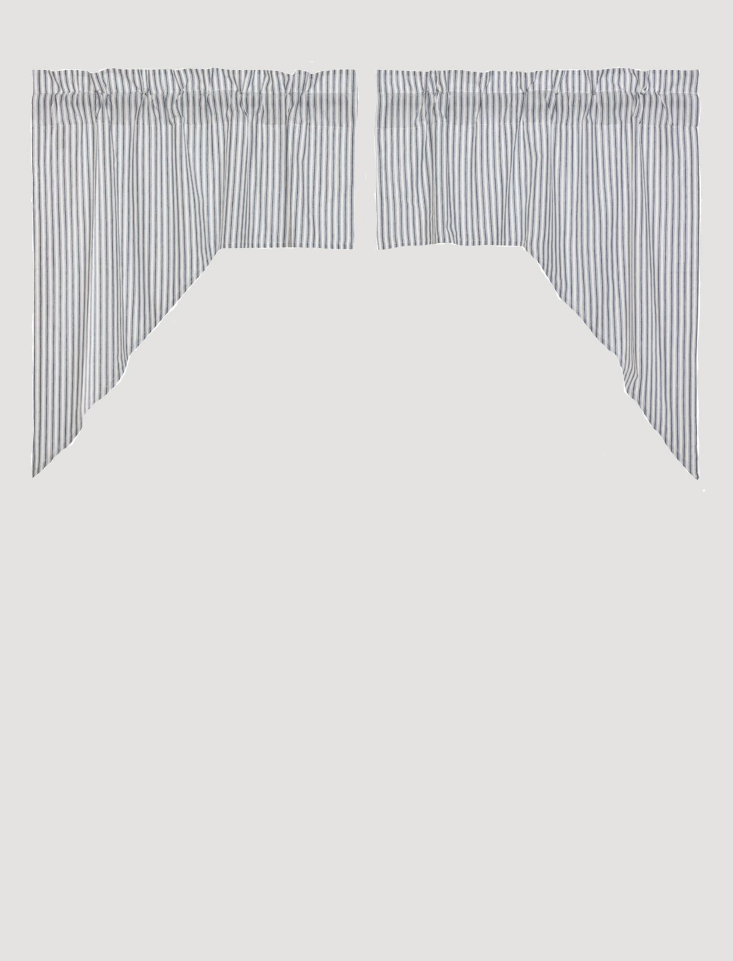 "VHC Brands Sawyer Mill Blue Ticking Stripe Swag Set of 2 - 36"" x 36"" x 16"""
