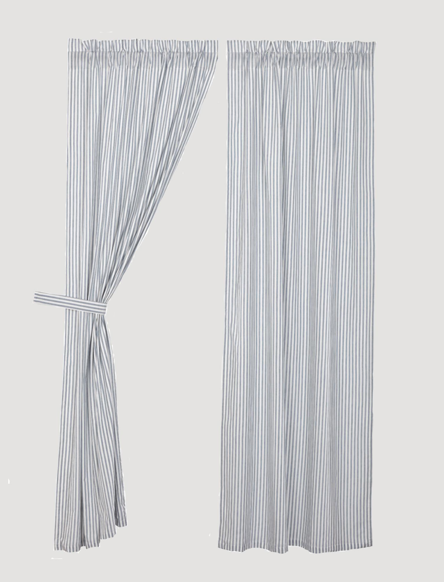 VHC Brands Sawyer Mill Blue Ticking Stripe Panel Set of 2