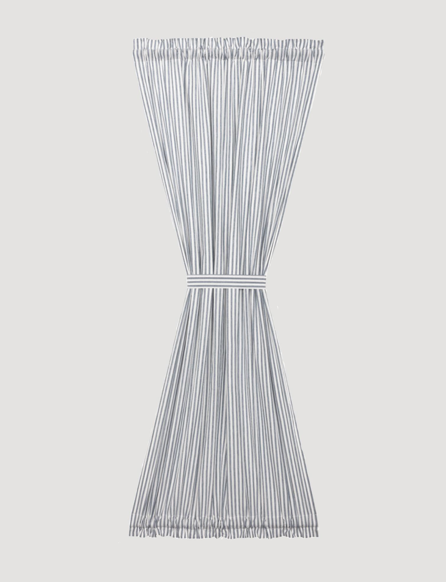 """VHC Brands Sawyer Mill Blue Ticking Stripe Door Panel - 72"""" x 40"""""""