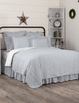 VHC Brands Sawyer Mill Blue Ticking Stripe Coverlet
