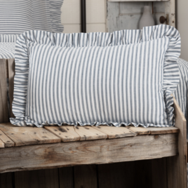 VHC Brands Sawyer Mill Blue Ticking Stripe Pillow
